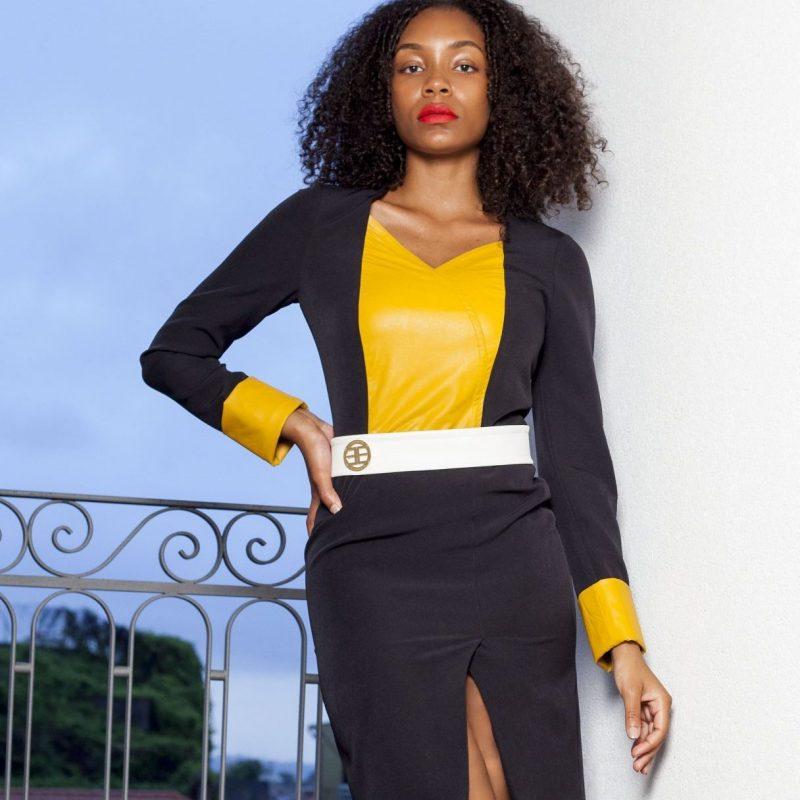 Vestido preto e amarelo 1